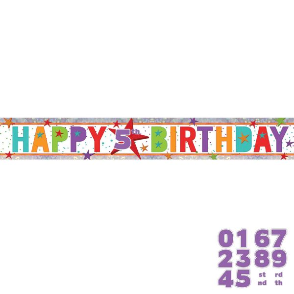 Add An Age Holographic Happy Birthday Foil Banner